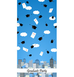 Graduation hats high up in the air above the city vector