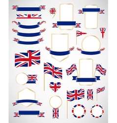 Great Britain flag decoration elements vector image