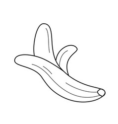 half peeled banana line icon vector image