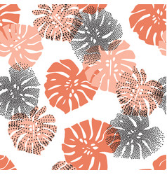 hand drawn tropical silhouettes monstera dotted vector image