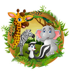 Happy animals in frame forest vector