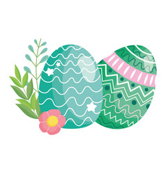 happy easter delicate eggs decoration flowers vector image