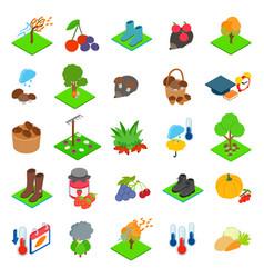 Harvest icons set isometric style vector