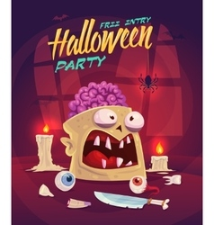 Horror set Halloween poster background card vector