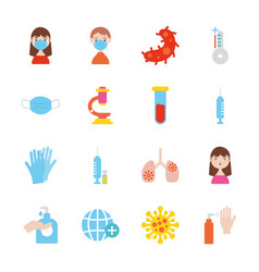 infected lungs and coronavirus icon set flat vector image