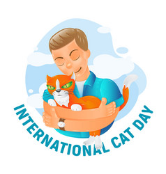 international world cat day with cute cartoon vector image