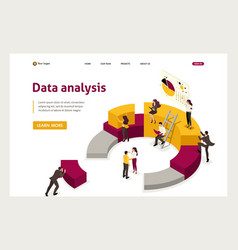 Isometric collecting analyzing data people collec vector