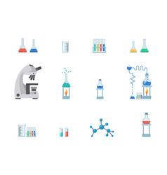 lab equipment flat set test vector image