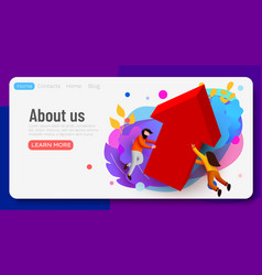 landing page business team with growing arrow vector image