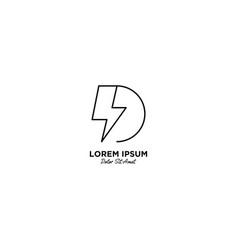 Letter d flash logo design vector