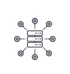 Mainframe server hosting service icon on white vector
