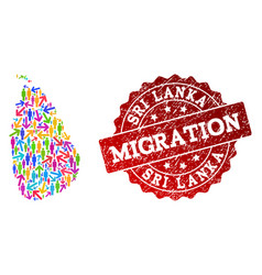 Migration composition of mosaic map of sri lanka vector