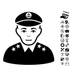 Military Captain Icon With Flying Drone Tools vector image