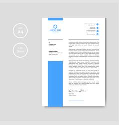 Minimal blue modern letterhead vector