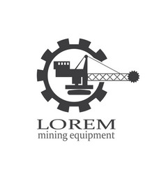 Mining or construction machine logo vector