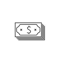 money icon black on white background vector image