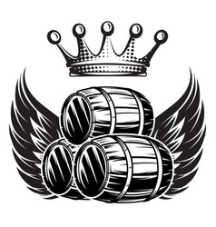 monochrome with cask wings and crown vector image