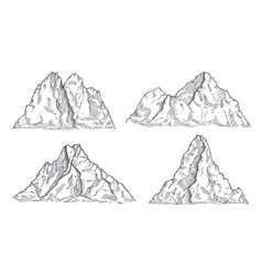 mountains sketch art drawing mountain engraved vector image