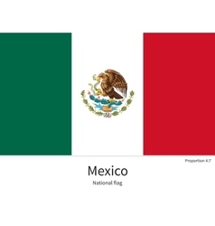National flag of Mexico with correct proportions vector