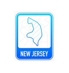 New jersey - us state contour line in white vector
