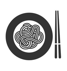 noodle icon thin long strip pasta in plate vector image