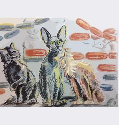 Odd cat out wax pencil vector