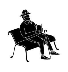 old man sitting on a park bench reading a book vector image