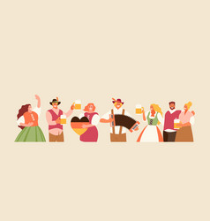 People celebrating oktoberfest vector