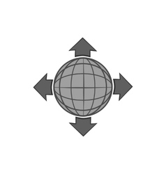 Planet and pointers icon black monochrome style vector image