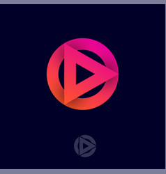 play logo symbol triangle circle multimedia player vector image
