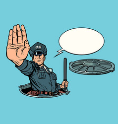 police stop gesture dangerous manhole road works vector image