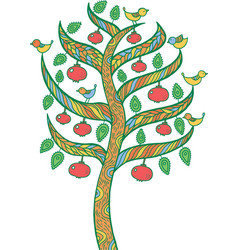 Pomegranate tree - kids colorful vector