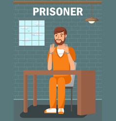 prisoner sitting in jail cell flat poster template vector image