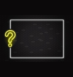 quiz banner with yellow neon question mark in vector image