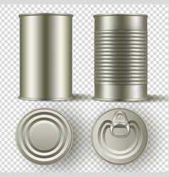 realistic 3d tin can mock up set top and side vector image