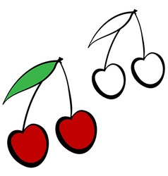 Red cherry cartoon vector image