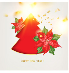 red christmas fir tree with poisettia flower and vector image