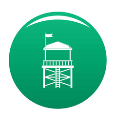 Rescue tower icon green vector