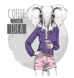 Retro hipster fashion animal elephant with coffee vector