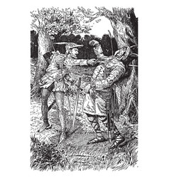 Robin hood killing the guy of gisbourne vintage vector