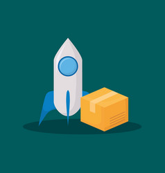 Rocket and box icon vector