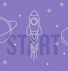 Rocket space Linear design Start up concept vector image