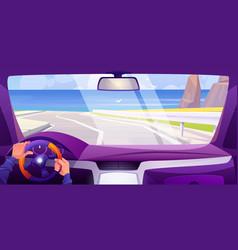 Sea beach view from car through windshield vector