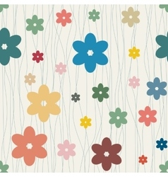 Seamless floral background with camomiles vector