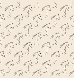 Seamless pattern black horses beige background vector