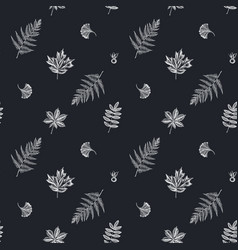 seamless pattern with hand drawn chalk fern dog vector image