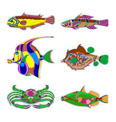 set abstract fish - graphic this logo template vector image