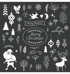 set christmas graphic elements on a black backg vector image