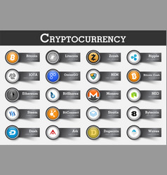 set cryptocurrency icon and label with value vector image