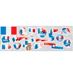 set national flag france in vector image